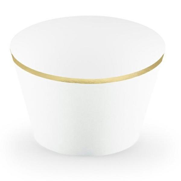 KOŠÍČKY na cupcakes bílé se zlatým okrajem 6ks