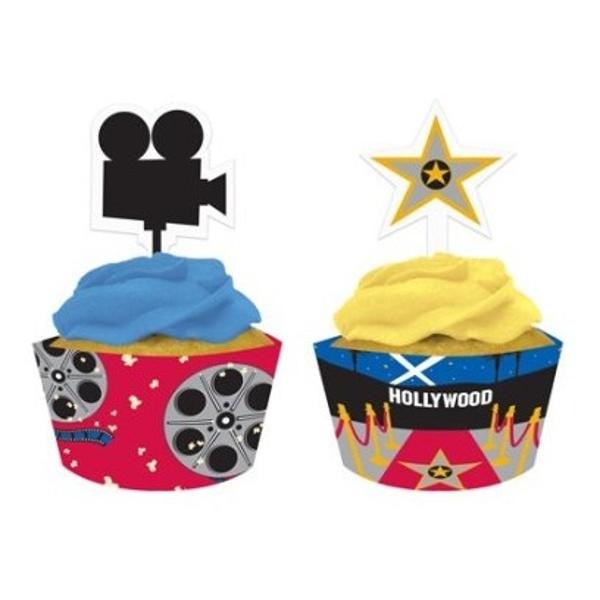 KOŠÍČKY na cupcakes se zápichy Hollywood 12ks