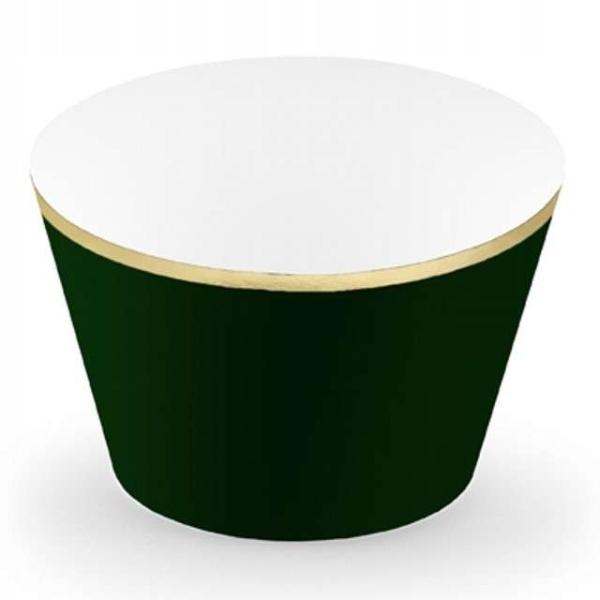 KOŠÍČKY na cupcakes sytě zelené se zlatým okrajem 6ks