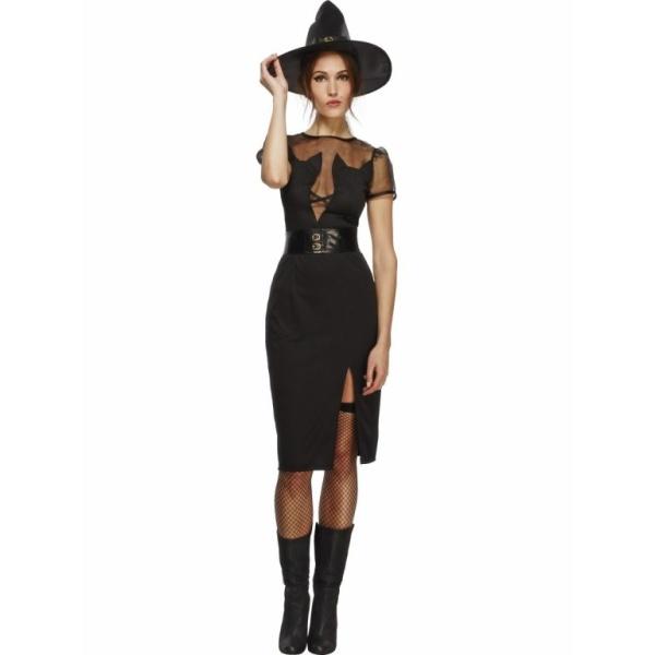 KOSTÝM Čarodějka dámský - šaty, pásek, klobouk
