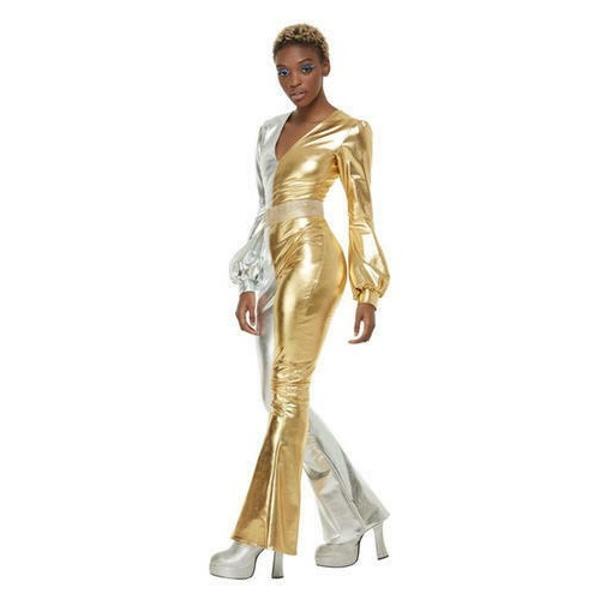 KOSTÝM dámský zlato-stříbrný 70.léta vel. S