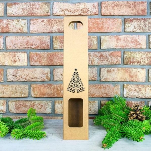 KRABICE na víno Vánoční stromeček 1ks