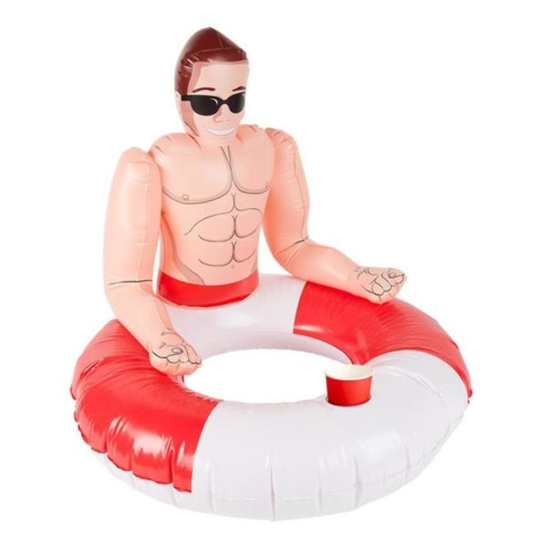 KRUH nafukovací s plavčíkem a otvorem na nápoje červeno-bílý 88cm