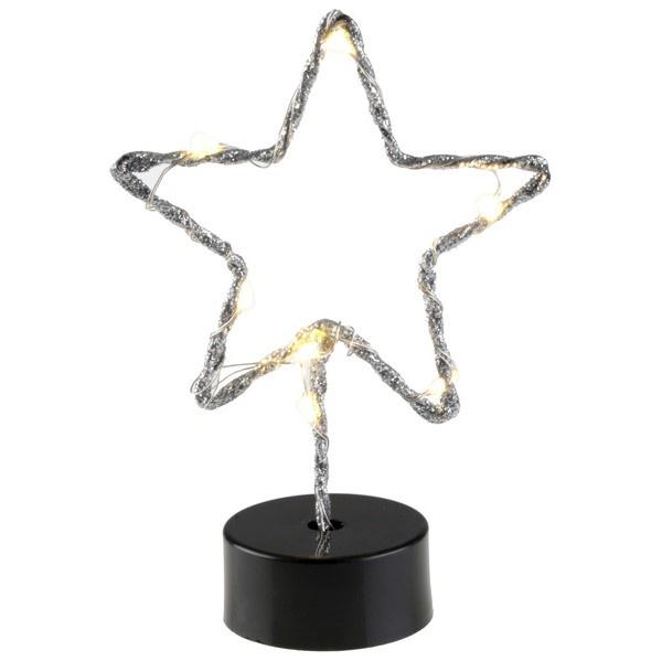 DEKORACE LED svítící hvězda stříbrná
