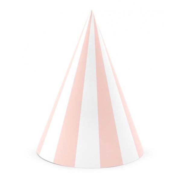 PARTY ČEPIČKY světle růžové 16cm 6ks