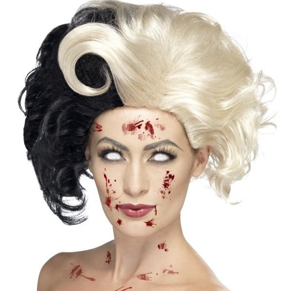 PARUKA Zlá dáma bílo-černá
