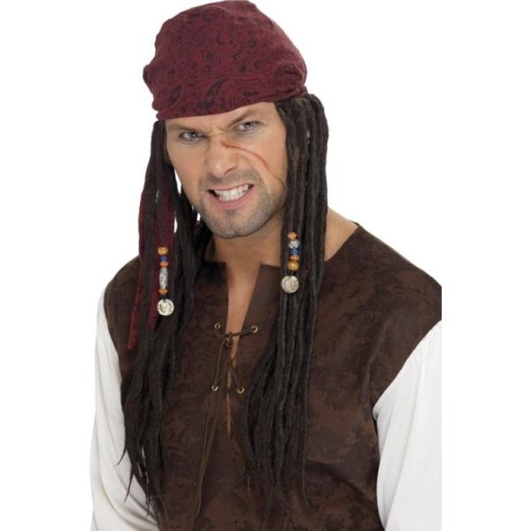 PARUKA pirát, šátek s dredy 1ks