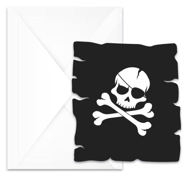 POZVÁNKY Piráti černá lebka 6ks