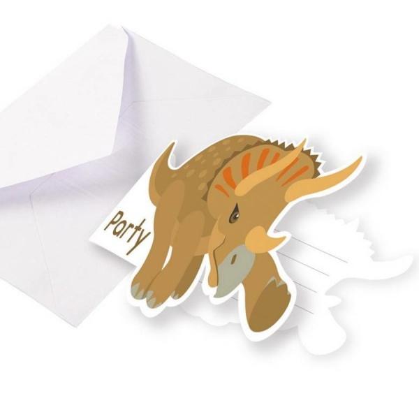 Levně POZVÁNKY s obálkami Dinosaurus 8ks 8,5x12,7cm