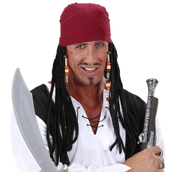 ŠÁTEK pirátský s dredy a korálky