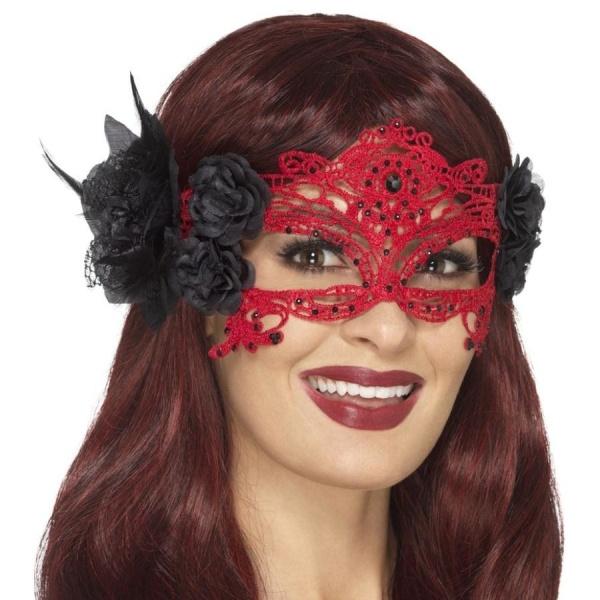 ŠKRABOŚKA červeno-černá krajková ďábelská