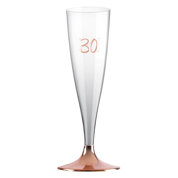 ŠAMPUSKY plastové 30. narozeniny Rose Gold 14cl 6ks
