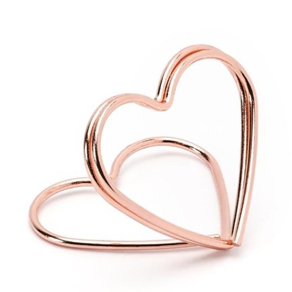 STOJÁNEK NA JMENOVKY srdce růžové zlato 10ks