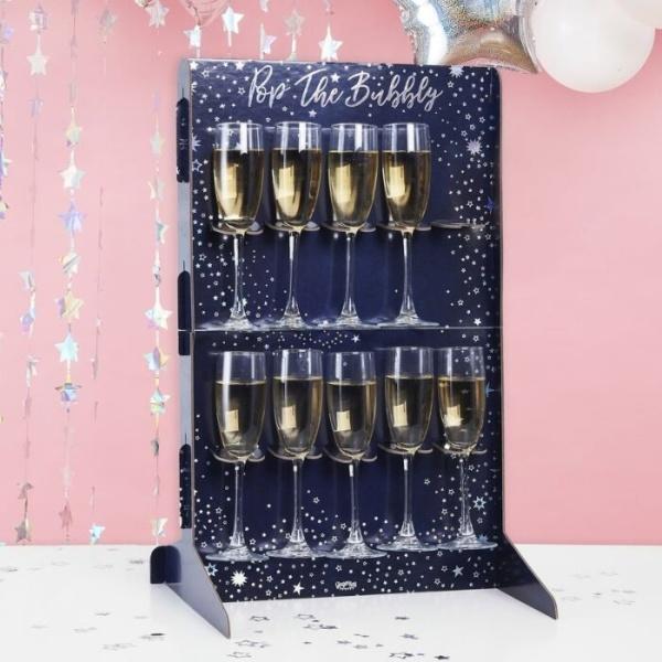 STOJAN na skleničky Prosecco modrý s hvězdičkami