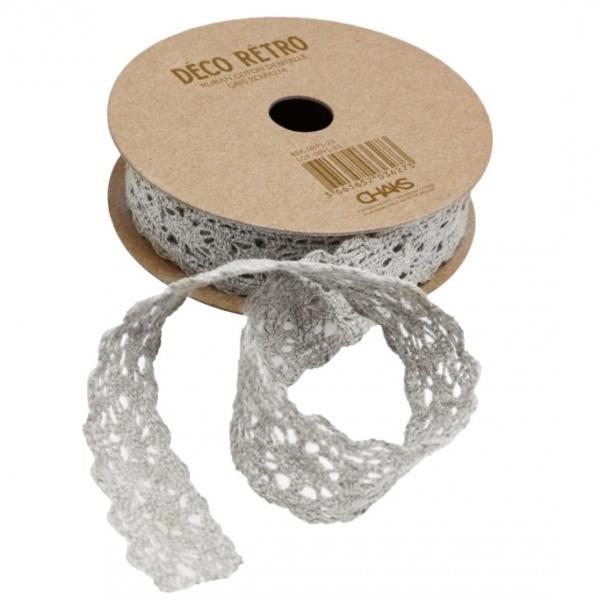STUHA krajková bavlněná šedá 2cmx2m