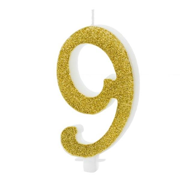 SVÍČKA č.9 zlatá 10cm