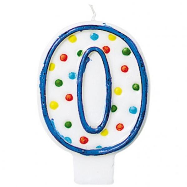 """SVÍČKA číslice """"0"""" s puntíky 1ks"""