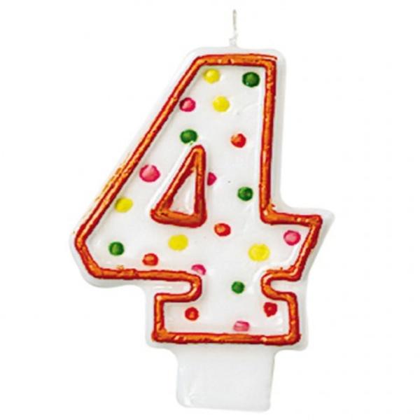 """SVÍČKA číslice """"4"""" s puntíky 1ks"""