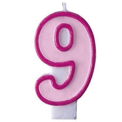 """SVÍČKA dortová """"9"""" růžová 1ks"""