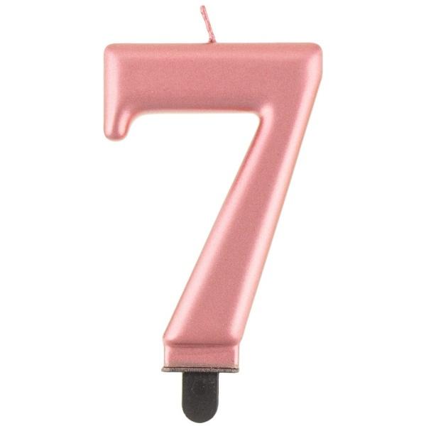 Svíčka číslice 7 rose gold 8 cm