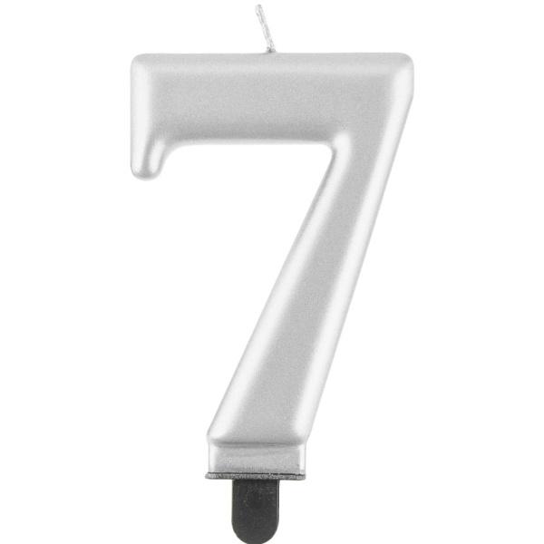 Svíčka číslice 7 stříbrná metalická 8 cm