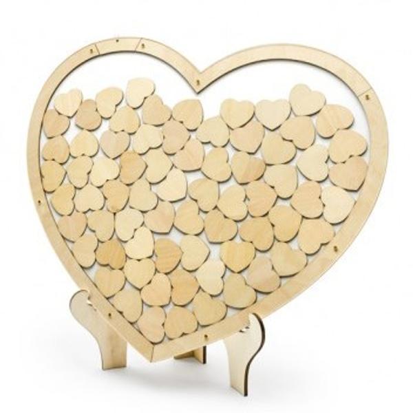 TABULKA na přání hostů dřevěná Srdce se srdíčky