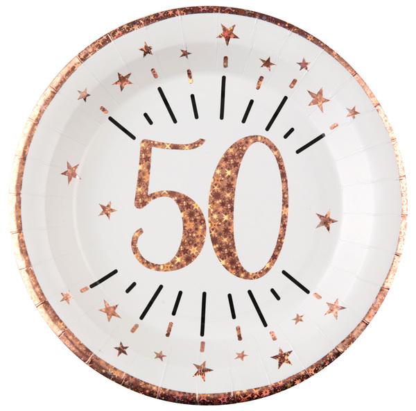 Levně TALÍŘE papírové 50. narozeniny Rose Gold 22,5cm 10ks