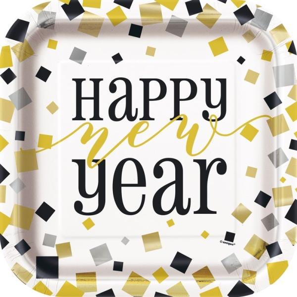 Levně TALÍŘE papírové Happy New Year 23cm 8ks
