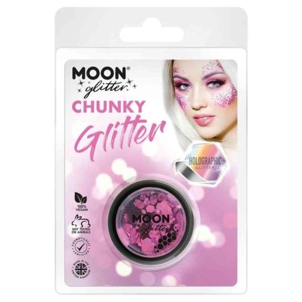 TŘPYTKY Chunky Glitter holografické růžové