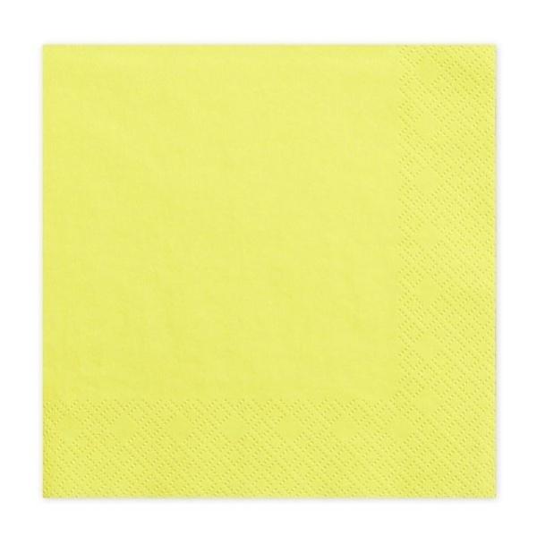Ubrousky žluté 33x33 cm 20 ks