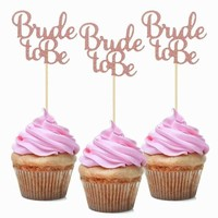 Dekorace cupcakes Bride to be rose gold 6 ks