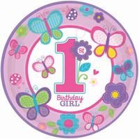 TALÍŘE 1. narozeniny holčička s motýlky 23cm 8ks 36629d4046