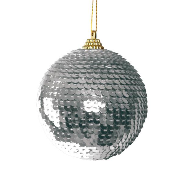 BAŇKA vánoční s flitry stříbrná 5cm 1ks