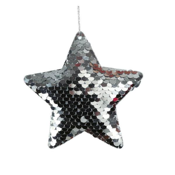 DEKORACE závěsná Hvězda s flitry stříbrná 8cm 2ks