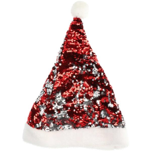 ČEPIČKA vánoční s flitry červená/stříbrná