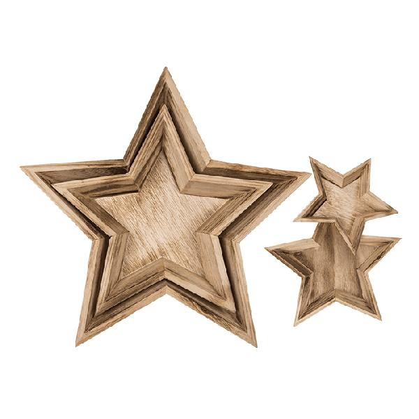 SET Tác dřevěný Hvězda 32,5/24cm 2ks